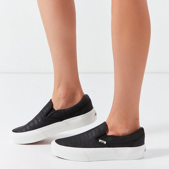 Vans Embossed Slip On Platform Sneakers